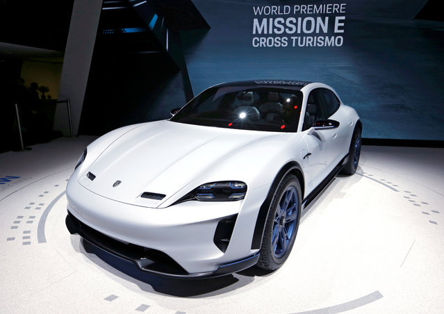 Porsche Mission E Cross Turismo is presented during the press day at the 88th Geneva International Motor Show in Geneva, Switzerland on Tuesday, March 6, 2018. (Photo by Denis Balibouse/Reuters)
