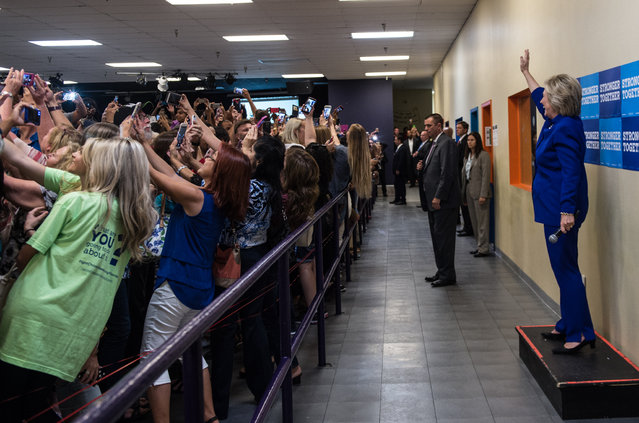 Hillary Clinton waves to a selfie-taking crowd at a recent campaign event in Orlando, Florida on September 26, 2016. (Photo by Barbara Kinney/Hillary for America)