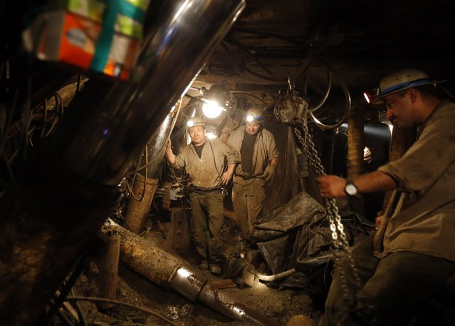 Miners prepare for their last working day at Hungary's last hard coal deep-cast mine at Markushegy on December 23, 2014. (Photo by Laszlo Balogh/Reuters)