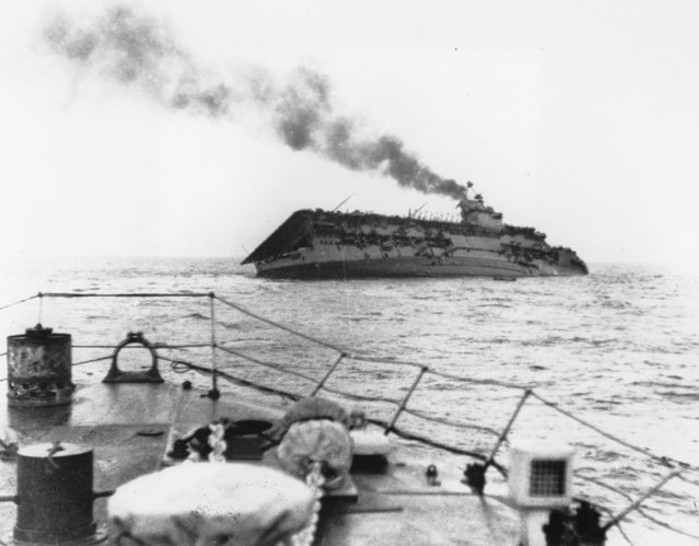 On September 17, 1939, the Royal Navy aircraft carrier HMS Courageous is hit by a torpedo from the German submarine U29 and sinks within 20 minutes, southwest off Ireland, taking almost half of the crew with her. (Photo by AP Photo)