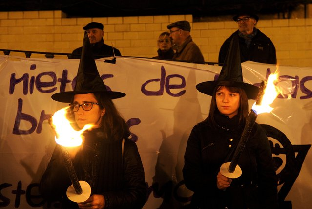 Women of the Plataforma Feminista de Asturias (Feminist Platform of Asturias) during a demonstration commemorating the International Day for the Elimination of Violence Against Women in Oviedo, northern Spain, November 25, 2015. (Photo by Eloy Alonso/Reuters)