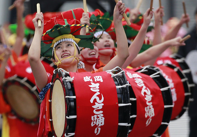 Dancers sing and play drums during the Morioka Sansa Festival performance at Shintora Festival on the street in Toranomon business district in Tokyo, Sunday, November 20, 2016. Six major traditional festivals of Japan's northeastern region of Tohoku were showcased to Tokyoites and tourists during the new two-day festival. (Photo by Shizuo Kambayashi/AP Photo)
