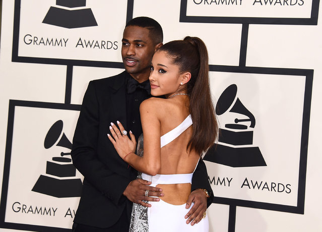Big Sean, left, and Ariana Grande arrive at the 57th annual Grammy Awards at the Staples Center on Sunday, February 8, 2015, in Los Angeles. (Photo by Jordan Strauss/Invision/AP Photo)
