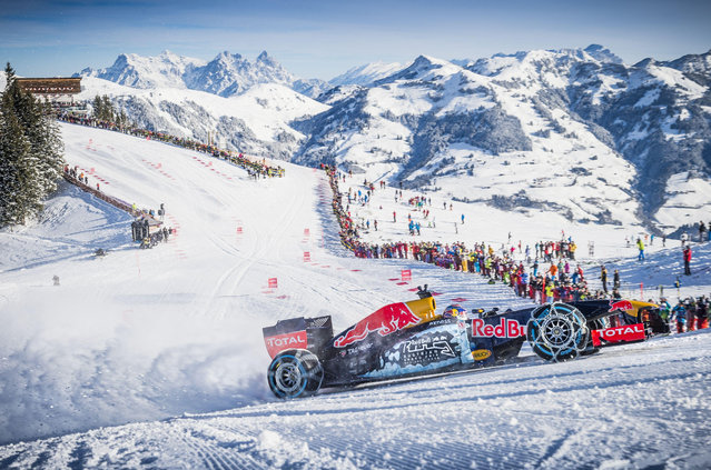 Driver Max Verstappen performs during the F1 showrun at the Hahnenkamm in Kitzbuhel, Austria on January 15, 2016. (Photo by Red Bull/SIPA/Rex Features/Shutterstock)