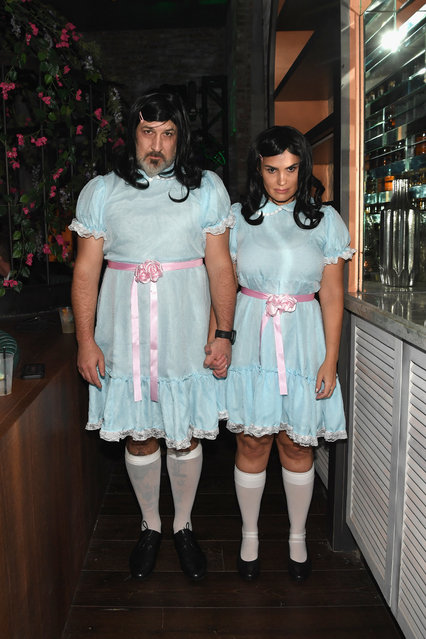 Joey Fatone (L) and Izabel Araujo attend Casamigos Halloween party at CATCH Las Vegas at ARIA Resort & Casino on October 27, 2018 in Las Vegas, Nevada. (Photo by Denise Truscello/Getty Images for Casamigos)