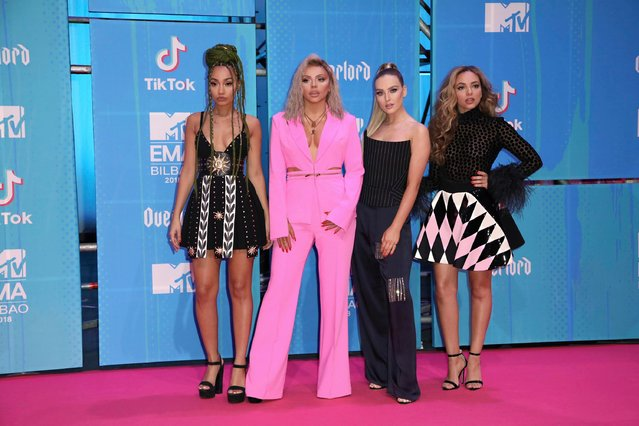 Members of the band Little Mix Leigh-Anne Pinnock, from left, Jesy Nelson, Perrie Edwards and Jade Thirlwall pose for photographers upon arrival at the European MTV Awards in Bilbao, Spain, Sunday, November 4, 2018. (Photo by Vianney Le Caer/Invision/AP Photo)