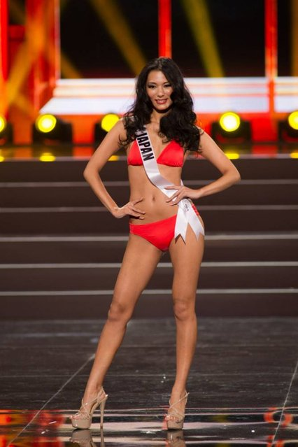 This photo provided by the Miss Universe Organization shows Yukimi Matsuo, Miss Japan 2013, competes in the swimsuit competition during the Preliminary Competition at Crocus City Hall, Moscow, on November 5, 2013. (Photo by Darren Decker/AFP Photo)