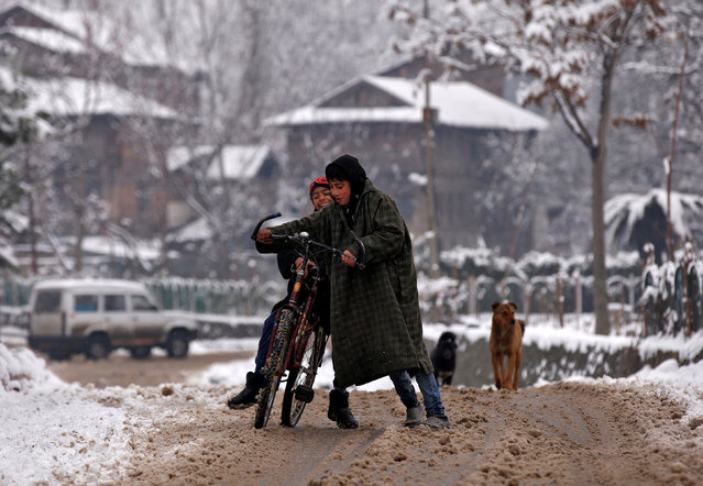 Boys lose balance of their cycle as they move throw a snow covered road in Srinagar January 16, 2017. (Photo by Danish Ismail/Reuters)