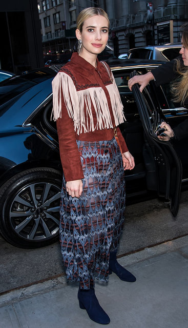 Actress Emma Roberts is seen arriving to Longchamp Fall/Winter 2019 Fashion Show at 28 Liberty Street during New York Fashion Week on February 9, 2019 in New York City. (Photo by Gilbert Carrasquillo/GC Images)
