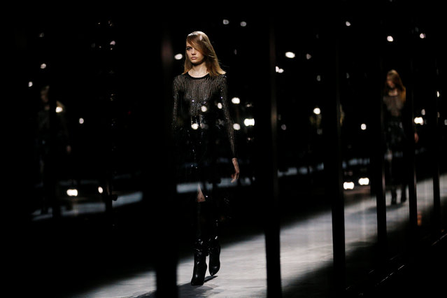 A model presents a creation by designer Anthony Vaccarello as part of his Fall/Winter 2019-2020 women's ready-to-wear collection for fashion house Saint Laurent during Paris Fashion Week in Paris, France, February 26, 2019. (Photo by Stephane Mahe/Reuters)
