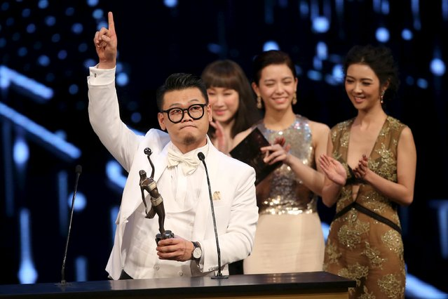 """Hong Kong actor Michael Ning reacts after winning the Best Supporting Actor award for his role in """"Port of Call"""" at the Hong Kong Film Awards in Hong Kong, China April 3, 2016. (Photo by Reuters/Stringer)"""
