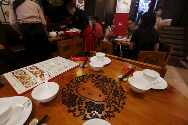 A Hello Kitty image is carved on a table in a Hello Kitty-themed Chinese restaurant in Hong Kong, China May 21, 2015. (Photo by Bobby Yip/Reuters)