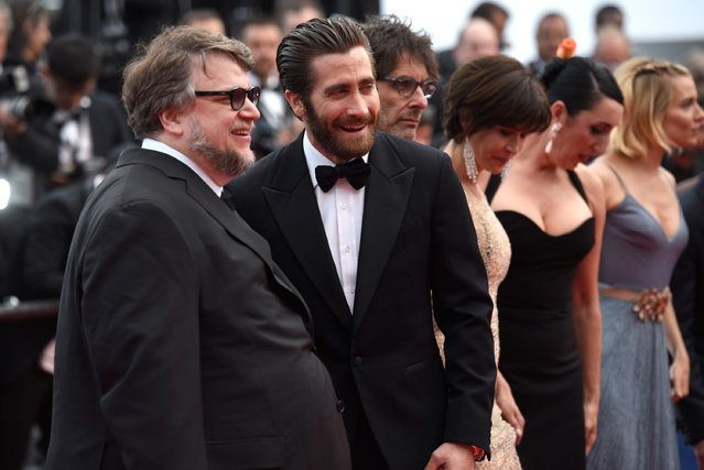 """(L-R) Official Jury Members Guillermo del Toro, Jake Gyllenhaal, Jury president Joel Coen, jury members Sophie Marceau, Rossy de Palma and Sienna Miller attend the closing ceremony and Premiere of """"La Glace Et Le Ciel"""" (Ice And The Sky) during the 68th annual Cannes Film Festival on May 24, 2015 in Cannes, France. (Photo by Clemens Bilan/Getty Images)"""