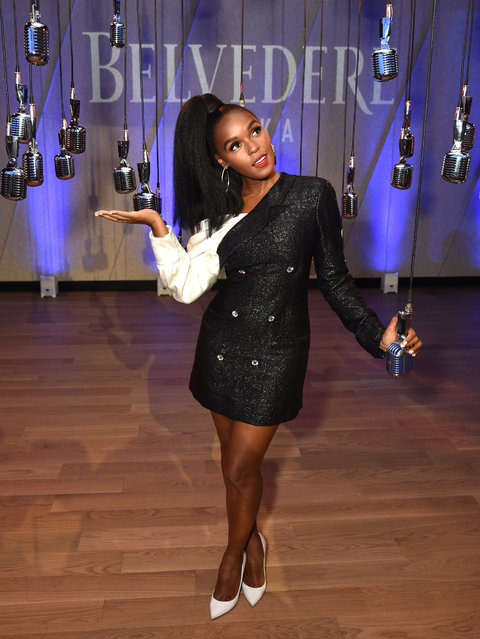 """Janelle Monae poses for a photo as Belvedere Vodka x Janelle Monae Celebrate the Launch of """"A Beautiful Future"""" Limited Edition Bottle at The Tisch Skylights at The Shed on June 24, 2019 in New York City. (Photo by Bryan Bedder/Getty Images for Belvedere Vodka)"""