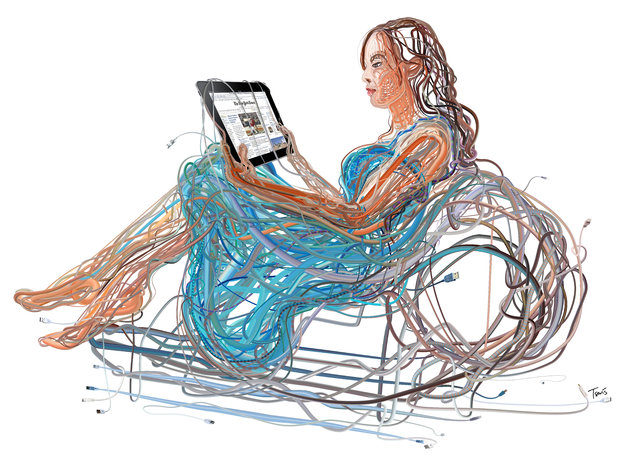 """""""iPad Woman: The wired and wireless future of media and infotainment"""". (Photo by Charis Tsevis)"""