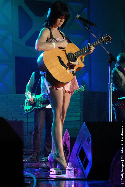 Katy Perry performs at the DirecTV SXSW Live Broadcast on March 14, 2008 at the Austin Convention Center in Austin, Texas