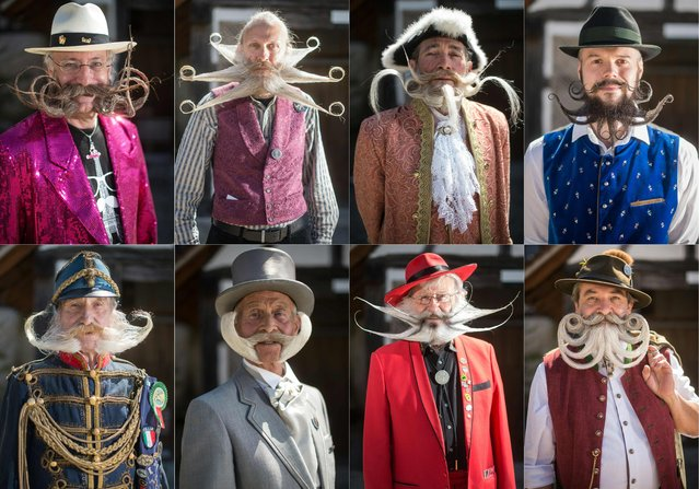This combination of pictures created on April 30, 2017 competitors posing before a beard and moustache competition at the Ecomusee d'Alsace in Ungersheim on April 30, 2017. (Photo by Sebastien Bozon/AFP Photo)