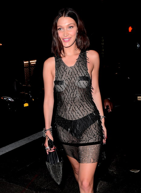 Bella Hadid was the star of the Met Gala After Party on Monday night. She came and left, solo, to Rihanna's Met Gala After Party at 1 Oak, wearing a barely there dress on May 1, 2017. She maintained her modesty in the he entirely see through ensemble only with Black Tape over her Nipples and Black Panties. (Photo by 247PAPS.TV/Splash News and Pictures)