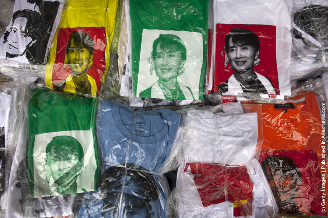 Aung San Suu Kyi  T-shirts are for sale along the city streets in Yangon, Myanmar