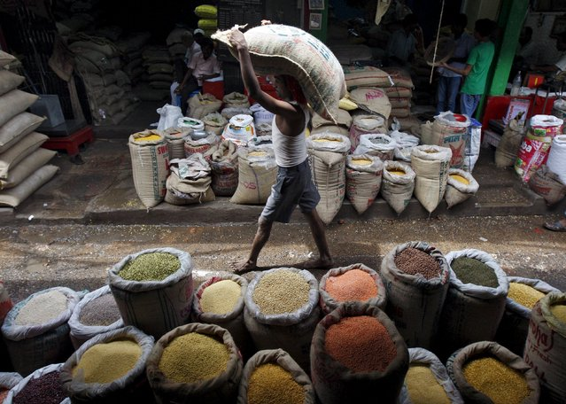 A labourer carries a sack filled with pulses at a wholesale pulses market in Kolkata, India, July 31, 2015. India is to buy oilseeds and pulses directly from farmers for the first time this year, in addition to its existing purchases of wheat and rice, to boost production and close a supply gap that has driven its annual import bill up to $12 billion. (Photo by Rupak De Chowdhuri/Reuters)