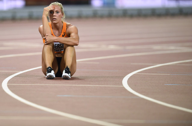 Nadine Broersen of the Netherlands reacts after the 200 metres event of the women's heptathlon at the 15th IAAF World Championships at the National Stadium in Beijing, China August 22, 2015. (Photo by Dylan Martinez/Reuters)