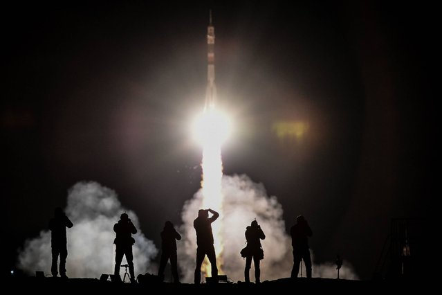 Russia's Soyuz MS-06 spacecraft carrying the members of the International Space Station (ISS) expedition 53/54, US astronauts Joseph Akaba and Mark Vande Hei and Russia's cosmonaut Alexander Misurkin, blasts off from the launch pad to the International Space Station (ISS) early on September 13, 2017. (Photo by Kirill Kudryavtsev/AFP Photo)
