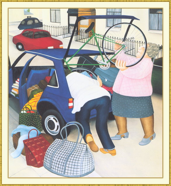 Packing the Car. Artwork by Beryl Cook
