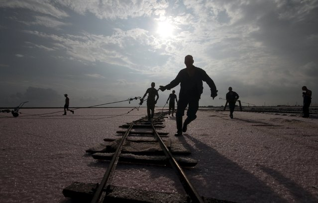 Workers adjust rails at the bed of a drained area of a lake used for the production of salt at the Sasyk-Sivash lake near the city of Yevpatoria, Crimea, September 25, 2015. The area has a long tradition of salt production, prepared from salt flats flooded with water from the Black Sea. (Photo by Pavel Rebrov/Reuters)