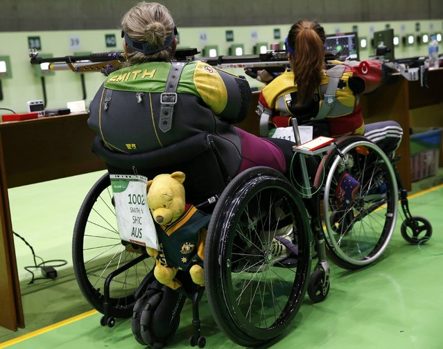 2016 Rio Paralympics, Shooting, Qualification, R2, Women's 10m Air Rifle Standing SH1, Olympic Shooting Centre, Rio de Janeiro, Brazil on September 8, 2016. Natalie Smith of Australia competes. (Photo by Carlos Garcia Rawlins/Reuters)