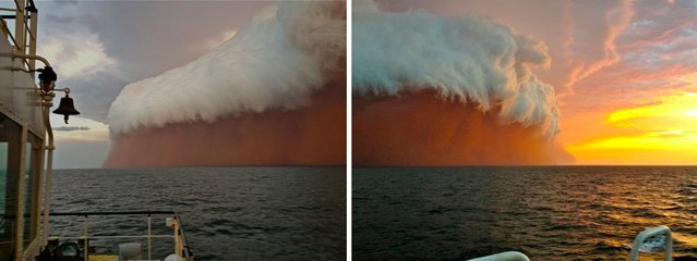 LEFT: This handout, posted by Perth Weather Live, shows a towering red dust storm over the ocean ahead of the cyclone approaching Onslow on the West Australian coast on January 9, 2013. Tug boat worker Brett Martin, who captured the fearsome pictures 25 nautical miles from the town of Onslow, reported conditions were glassy and flat before the storm hit late int he day. But when the wild weather arrived, the swell lifted to two metres, winds increased to 40 knots and visibility was reduced to 100 metres. (Photo by Perth Weather Live/Brett Martin/AFP Photo) RIGHT: A cloud formation tinged with red dust travels across the Indian Ocean near Onslow on the Western Australia coast in this handout image distributed by fishwrecked.com and taken January 9, 2013. (Photo by Brett Martin/Fishwrecked.com/Handout/Reuters)