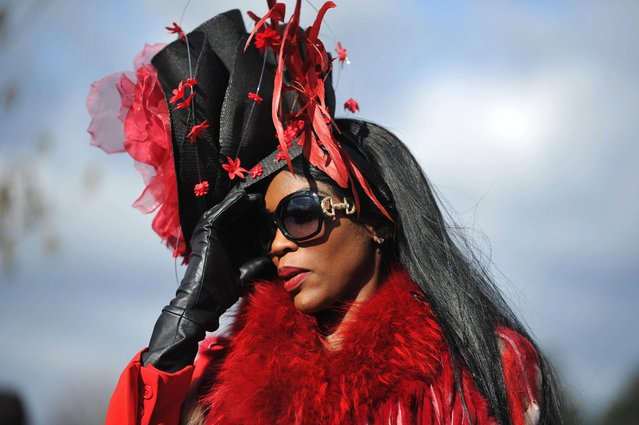 Lystra Adams from Staffordshire arrives during Ladies Day at the 2013 Cheltenham Festival at Cheltenham Racecourse, Gloucestershire, UK, on March 13, 2013. (Photo by Tim Ireland/PA Wire)