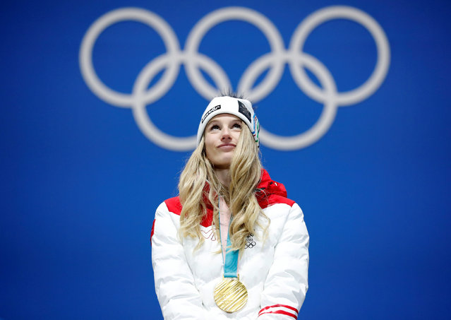 Austria' s gold medallist Anna Gasser poses on the podium during the medal ceremony for the snowboard women' s Big Air at the Pyeongchang Medals Plaza during the Pyeongchang 2018 Winter Olympic Games in Pyeongchang on February 22, 2018. (Photo by Kim Hong-Ji/Reuters)