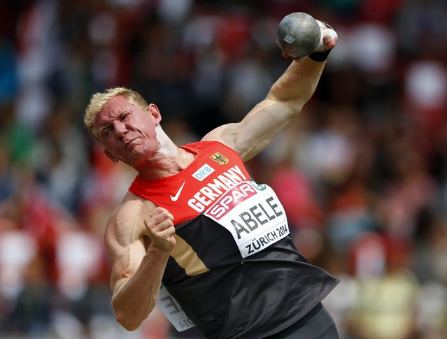 Arthur Abele of Germany competes in the men's shot put decathlon during the European Athletics Championships at the Letzigrund Stadium in Zurich, in this August 12, 2014 file photo. (Photo by Phil Noble/Reuters)