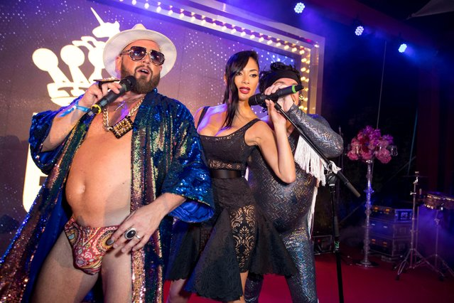 Ex-Pussycat Dolls singer Nicole Scherzinger and The Cuban Brothers perform at the de Grisogono party during the 71st annual Cannes Film Festival at Villa des Oliviers on May 15, 2018 in Cap d'Antibes, France. (Photo by Goff Photos)