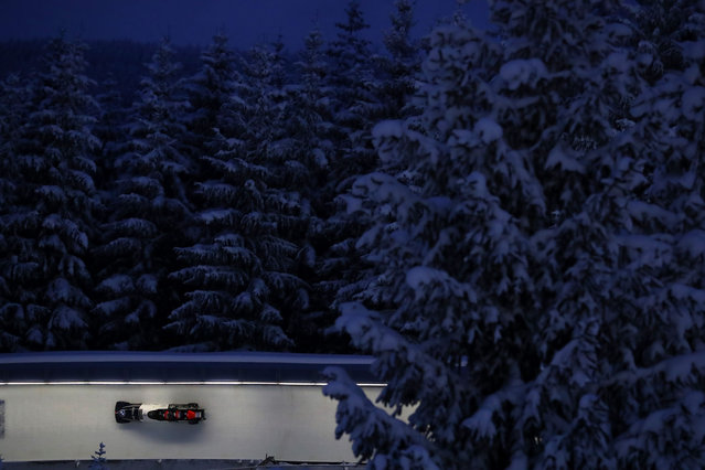 Michael Vogt, Silvio Weber, Sandro Michael and Andreas Haas for Switzerland compete in their second run during the IBSF World Championships 2021 Altenberg 4-Man Bobsleigh competition at the at Eiskanal Altenberg on February 13, 2021 in Altenberg, Germany. (Photo by Martin Rose/Getty Images)