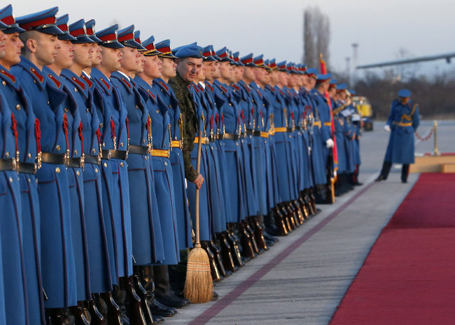 Members of the Serbian Honor guard prepare for the welcoming ceremony for Hungary's Prime Minister Viktor Orban, at the Constantine the Great Airport, in the town of Nis, Serbia, Sunday, November 20, 2016. The Hungarian-Serbian government two-day summit starts on Sunday. (Photo by Darko Vojinovic/AP Photo)