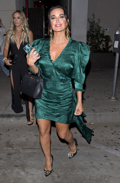 """Real Housewives of Beverly Hills"" star, Kyle Richards seen wearing a green evening as she left dinner with friends at ""Craigs"" Restaurant in West Hollywood, CA on September 18, 2018. (Photo by Splash News and Pictures)"