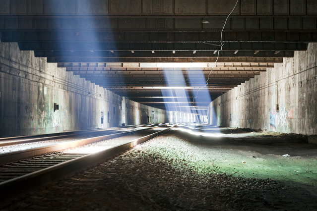 """The Freedom Tunnel under Riverside Park once held a vast homeless encampment known as """"the mole people"""". Amtrak evicted the residents and reactivated the line in the 1990s, but the tunnel remains a mecca for graffiti artists. (Photo by Will Ellis)"""