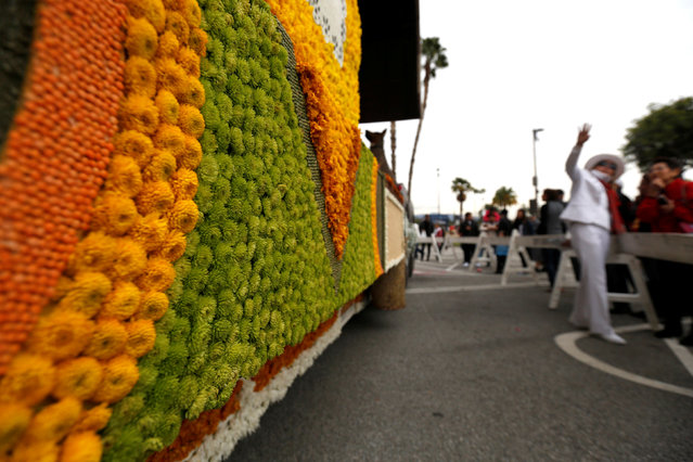 "A detail of Farmers Insurance ""We Came, We Saw, We Covered"" float which was featured in the 128th annual Rose Parade is pictured in Pasadena, California U.S., January 3, 2017. (Photo by Mario Anzuoni/Reuters)"