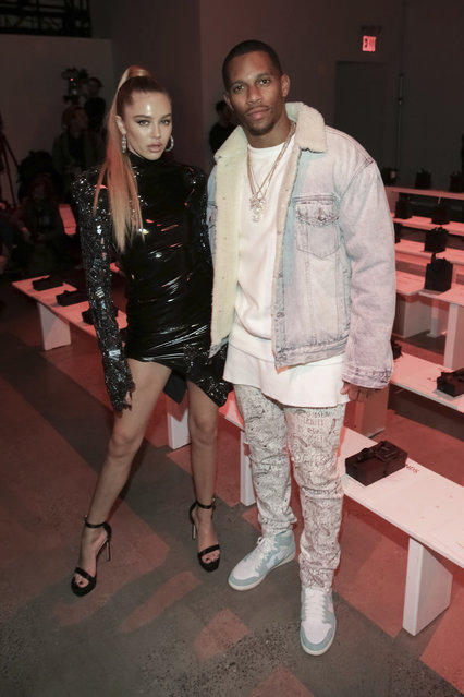 Delilah Belle Hamlin, left, and Victor Cruz attend The Blonds Runway Show held at Spring Studios during New York Fashion Week on Tuesday, February 12, 2019 in New York. (Photo by Brent N. Clarke/Invision/AP Photo)