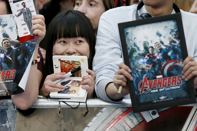 "A fan awaits the start of the European premiere of ""Avengers: Age of Ultron"" at Westfield shopping centre in Shepherds Bush, London April 21, 2015. (Photo by Stefan Wermuth/Reuters)"