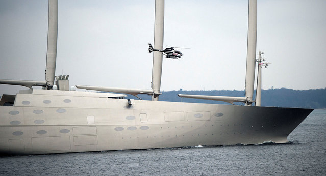 """The 142.81 metre sail-assisted motor yacht """"Sailing Yacht A"""" passes Elsinore, North Sealand, Denmark February 6, 2017. The vessel is thought to have cost $419 million. (Photo by Keld Navntoft/Reuters/Scanpix Denmark)"""