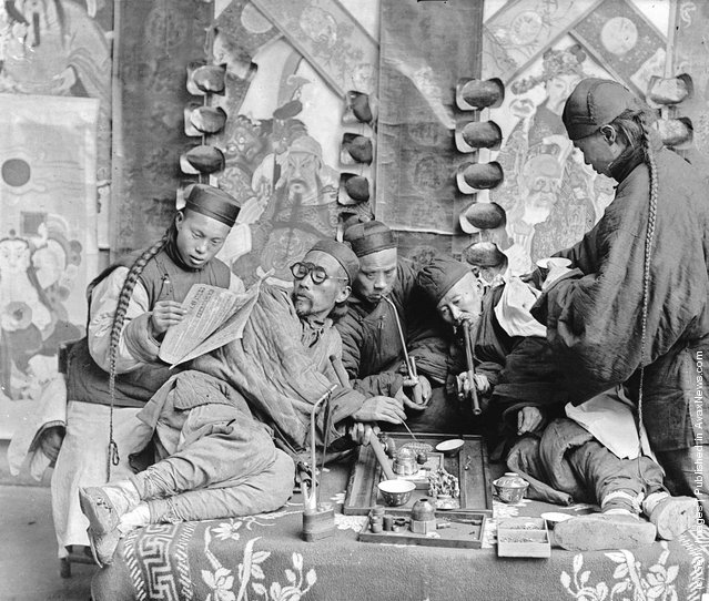 An opium den in China