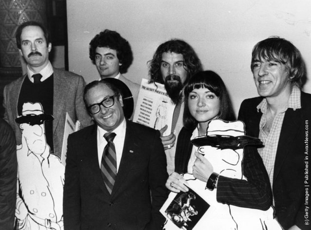 A group of celebrities at the press conference for the Amnesty International charity comedy gala 'The Secret Policeman's Ball'. From left to right, back row: John Cleese, Rowan Atkinson, Billy Connolly, Peter Cook and front row: Clive Jenkins and Anna Ford