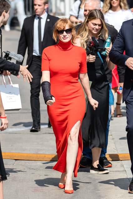 """Jessica Chastain is seen arriving at """"Jimmy Kimmel Live"""" on June 04, 2019 in Los Angeles, California. (Photo by TSM/Bauer-Griffin/GC Images)"""