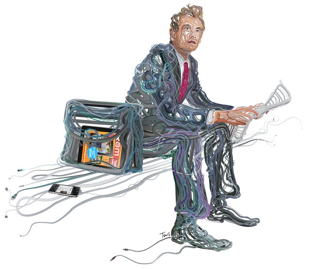 """""""iPublishing, iReading, iEnjoying"""", illustration for an article in RAM magazine. (Photo by Charis Tsevis)"""