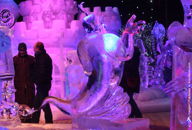 Ice sculptures based on the caracters by Walt Disney are shown at the snow and ice sculpture festival