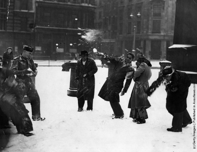 1947: Malayan students enjoying their first snowball fight, in Trafalgar Square, London