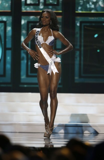 Miss Colorado, Talyah Polee, competes in the swimsuit competition during the preliminary round of the 2015 Miss USA Pageant in Baton Rouge, La., Wednesday, July 8, 2015. (Photo by Gerald Herbert/AP Photo)