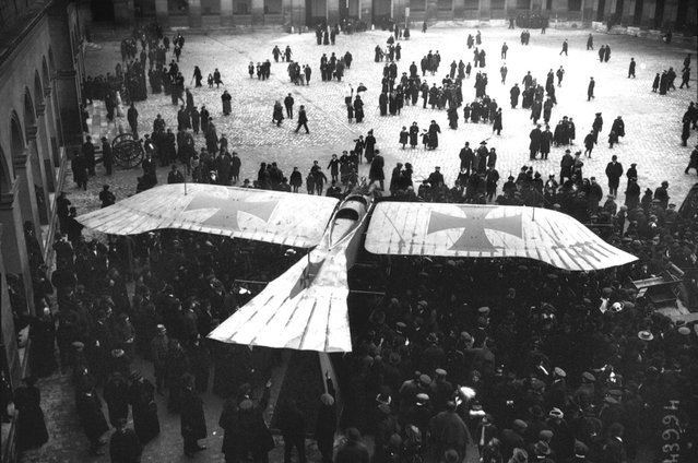 A captured German Taube monoplane, on display in the courtyard of Les Invalides in Paris, in 1915. The Taube was a pre-World War I aircraft, only briefly used on the front lines, replaced later by newer designs. (Photo by Bibliotheque nationale de France via The Atlantic)